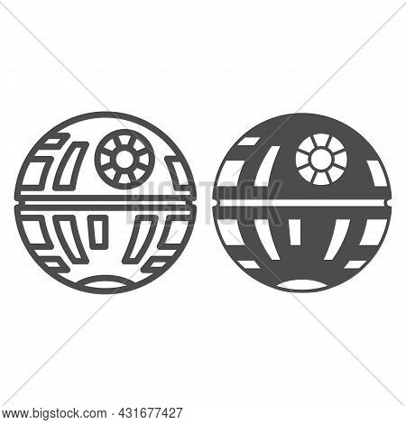 Death Star Line And Solid Icon, Star Wars Concept, Space Station And Galactical Superweapon Vector S