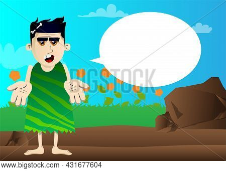 Cartoon Prehistoric Man Showing Something With Both Hands Or Expressing Don't Know Gesture. Vector I