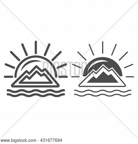Sun Behind The Mountain, Sunset At Sea, Seaside Line And Solid Icon, Nature Concept, Sunrise Vector
