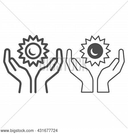 Sun In Open Hands Line And Solid Icon, Weather And Climate Concept, Sunshine In Arms Vector Sign On