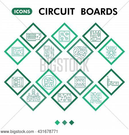 Modern Circuit Board Infographic Design Template. Pcb Inphographic Visualization With Fourteen Steps
