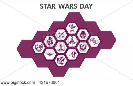 Modern Star Wars Infographic Design Template. Galaxy Fighters Inphographic Visualization With Twelve