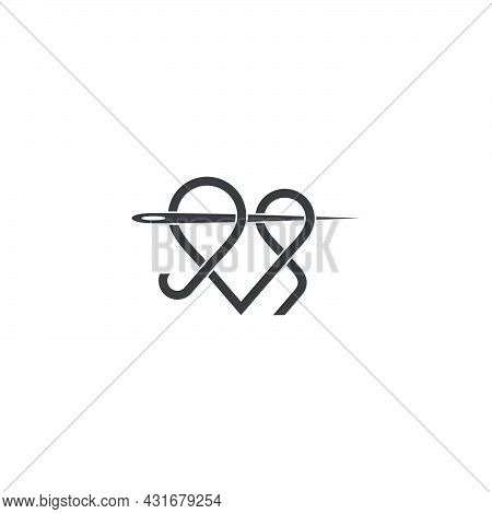 Fashion Design Needle Thread Overlap Linear Art Symbol Vector