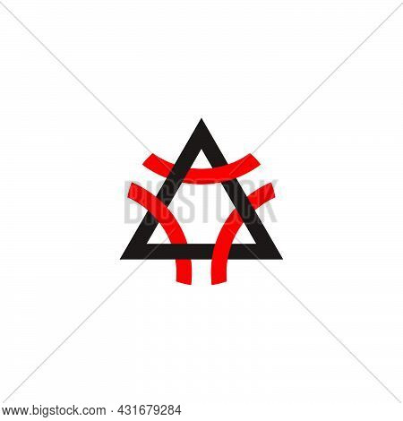 Triangle Letter A Colorful Line Overlap Logo Vector