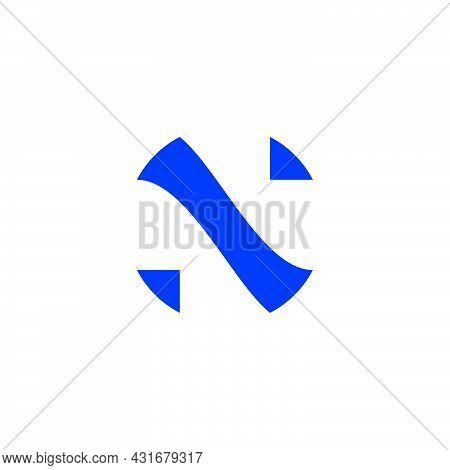 Letter N Simple Geometric Negative Space Logo Vector