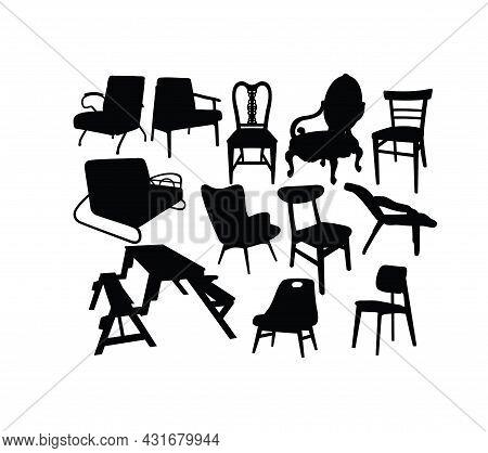 Antique Chair Silhouettes, Art Vector Silhouettes Design