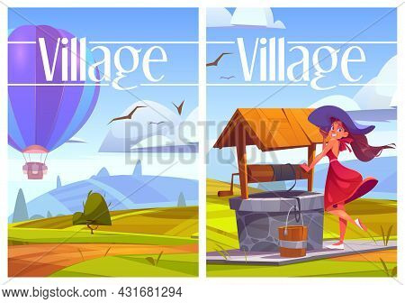 Village Life Cartoon Posters, Woman With Bucket At Rural Well, Hot Air Balloon Flying Over Green Hil