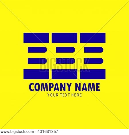 Three Letter B Arrangement Logo, Initials B In A Row Isolated On Yellow Background, Minimalist Creat