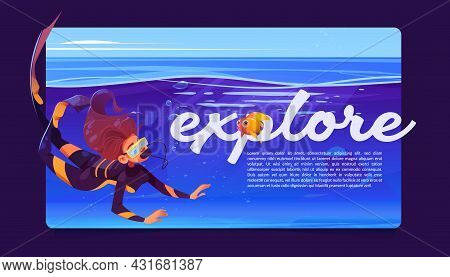 Explore Banner With Woman Scuba Diver And Goldfish Under Water In Sea Or Ocean. Vector Poster With C