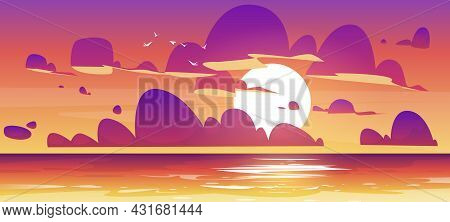 Sunset In Ocean, Nature Landscape Background, Pink And Purple Fluffy Clouds In Orange Sky With Sun S