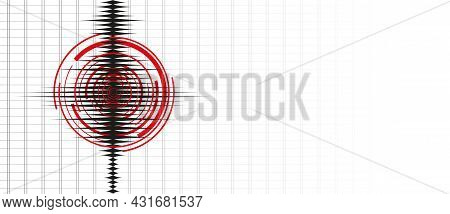 Earthquake Background. Seismogram For Seismic Measurement On White Background