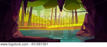 Cave In Rock With Lake And Forest Outside. Vector Cartoon Summer Landscape With Stone Cavern Entranc