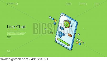 Live Chat Isometric Landing Page, Online Clients Support, Operator Service, Hotline Communication. S