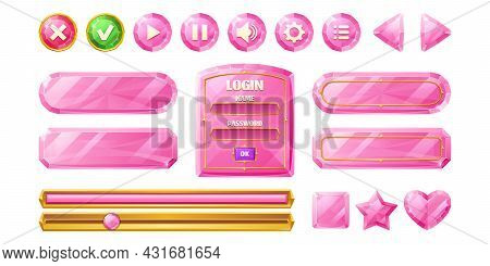 Pink Diamond Buttons For User Interface Design In Game, Video Player Or Website. Vector Cartoon Set