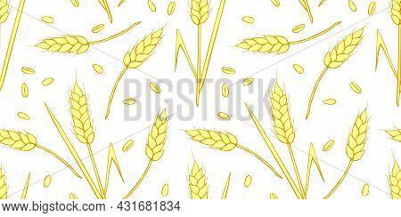Wheat Spikelets And Grains, Vector Seamless Pattern In Flat Style, Isolated. Design Of Print, Wrappi