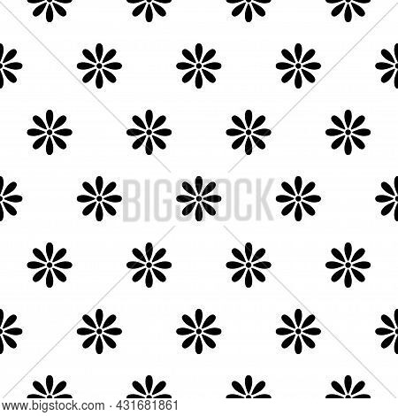 Simple Floral Pattern. Vector Minimalist Seamless Texture With Tiny Flower Shapes. Abstract Minimal