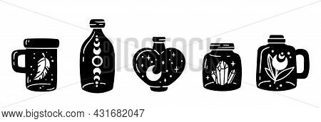 Mason Jar Clipart Bundle, Celestial Magic Jar Black And White Glass Bottles Isolated Items On White