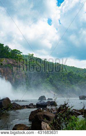 Most Beautiful Lake In Tropical Rainforest Athirapally Waterfalls, Kerala, India