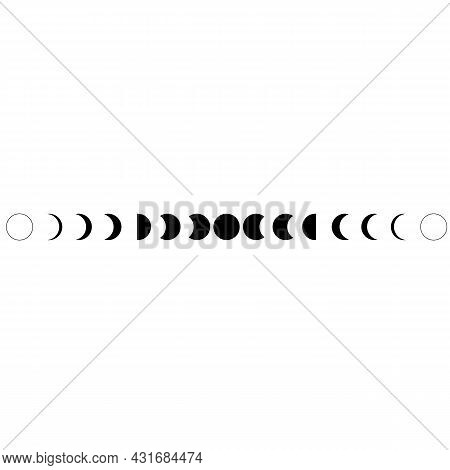 Moon Phases Black Icon On White Background. Lunar Phases Sign. The Sun A Solar Eclipse Symbol. The M
