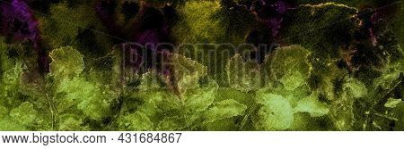 Bright Nature Background. Abstract Green Leaves Silhouettes On Spotted Dark Green And Purple Backgro