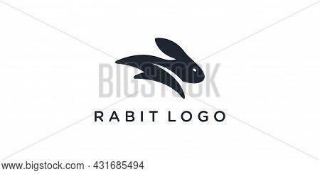 Rabbit Silhouette Logo Vector. Rabbit Icon. Rabbit Logo On White Background.