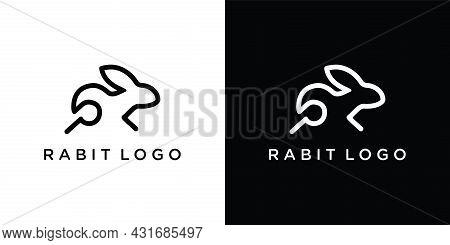 Rabbit Logo Template Vector Icon Symbol Illustration. Rabbit Icon On Black And White Background.