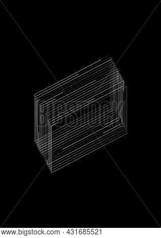 T-shirt And Apparel Design With The Rectangle Shapes Consists Of Lines. The 1980s Aesthetics. Black