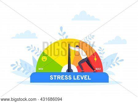 Reduce Stress Level Flat Style Design Concept Vector Illustration. Emotion Overload, Burnout And Fat