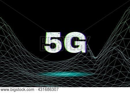 Futuristic neon 5g motion wave grid text typography