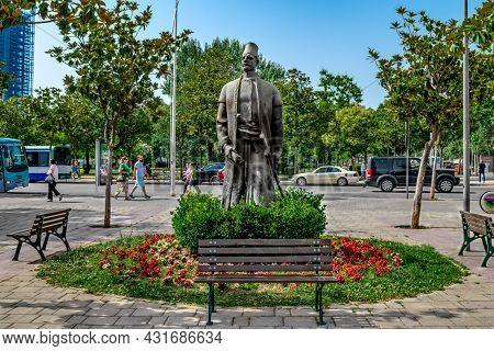 Tirana, Albania - June 21, 2021: Sulejman Pasha Bargjini Statue In Tirana. Monument To The General O