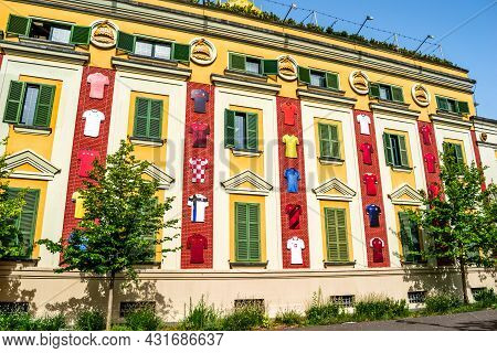 Tirana, Albania - June 21, 2021: T-shirts Of The National Teams From Euro 2020 On The Facade Of The