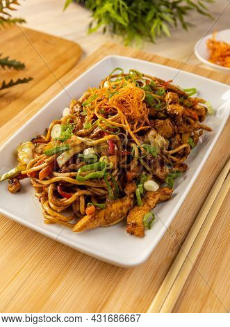 Delicious Asian Noodles With Chicken Stripes, Dish In Asian Style
