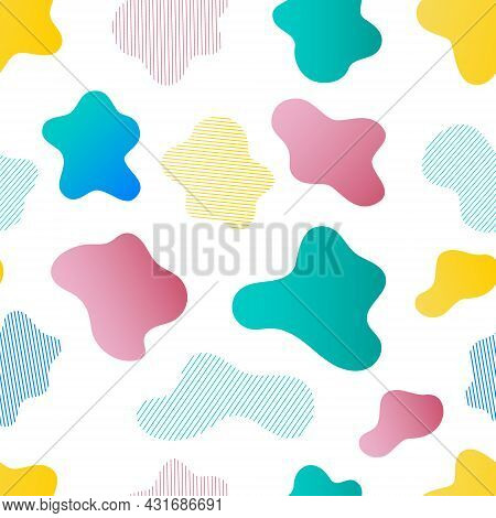 Seamless Pattern Of Random Spots. Colored And Striped Spot. The Spot Is Irregular In Shape With A Si