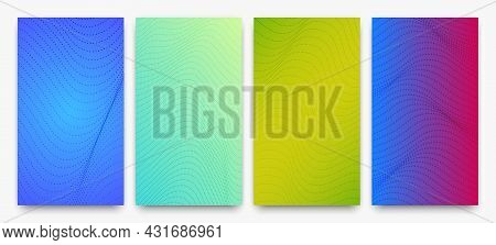 Set Of Halftone Gradient Backgrounds With Dots. Abstract Dotted Pop Art Patterns In Comic Style. Vec