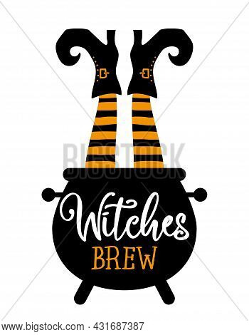 Witches Brew, Witch's Brew - Halloween Quote On White Background With Broom, Bat And Witch Hat. Good