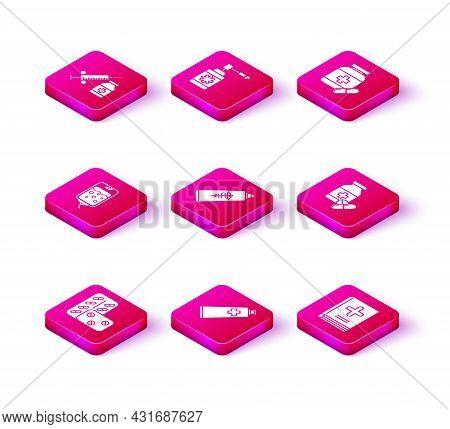 Set Pills In Blister Pack, Ointment Cream Tube Medicine, Iv Bag, Medical Book, Medicine Bottle And P