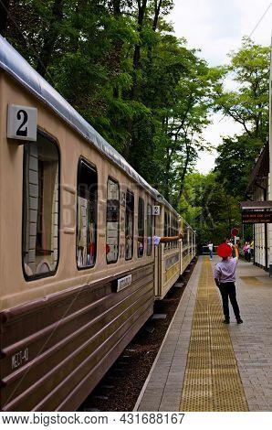 Kyiv, Ukraine-august 22, 2021:main Railway Station Of Kyiv Children's Railway In Syretsky Park. Trai