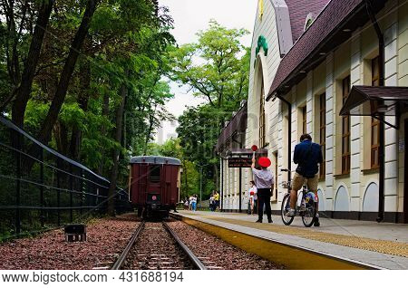 Kyiv, Ukraine-august 22, 2021: Main Railway Station Of Kyiv Children's Railway In Syretsky Park. Tra