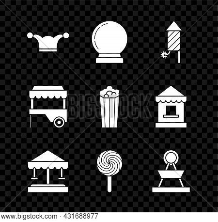 Set Jester Hat With Bells, Magic Ball, Firework Rocket, Attraction Carousel, Lollipop, Fast Street F