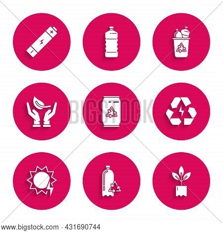 Set Can With Recycle Symbol And Can, Recycling Plastic Bottle, Plant, Battery, Solar Energy Panel, S