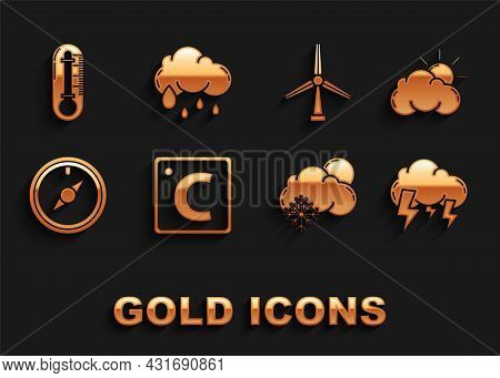 Set Celsius, Sun And Cloud Weather, Storm, Cloud With Snow Sun, Wind Rose, Turbine, Thermometer And