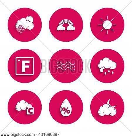 Set Waves, Water Drop Percentage, Cloud With Moon And Stars, Rain, Celsius Cloud, Fahrenheit, Sun An