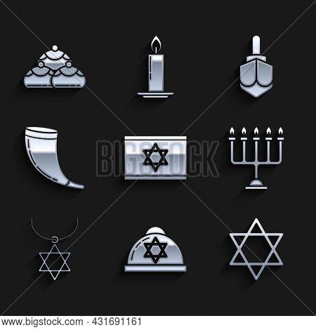 Set Flag Of Israel, Jewish Kippah With Star David, Star David, Hanukkah Menorah, Necklace On Chain,