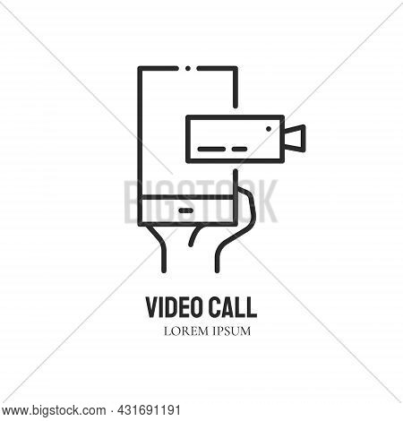 Phone In Human Hand With Camera On Screen. Videochat. Logo Concept. Video Conference And Online Meet