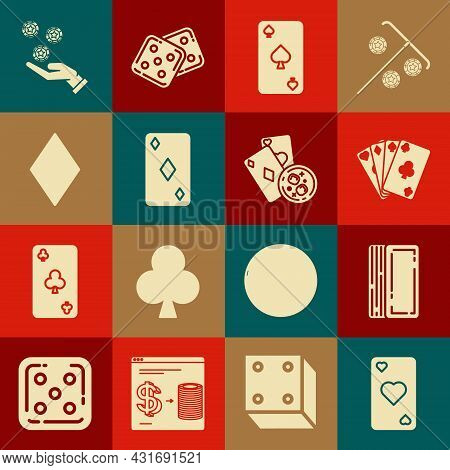 Set Playing Card With Heart Symbol, Deck Of Playing Cards, Spades, Diamonds, Hand Holding Casino Chi