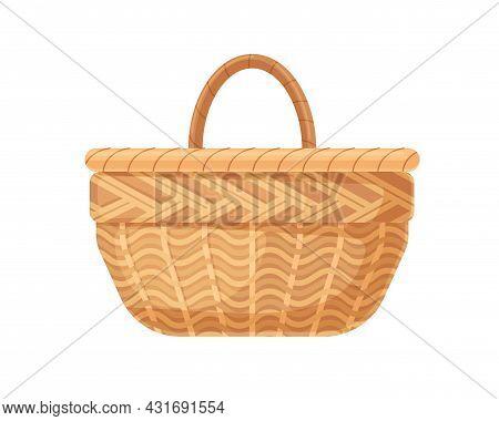 Empty Straw Basket. Single-handle Wicker. Realistic Wickerwork. Garden Basketry. Handmade Woven Brai