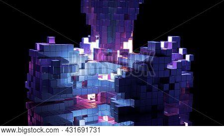 4k Uhd 3d Illustration Of Futuristic Cubes