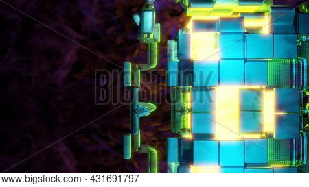 4k Uhd 3d Illustration Of Cubes And Smoke