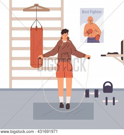 Person Jumping With Skipping Rope In Gym. Boxer Doing Cardio Exercises And Warmup Before Workout. At