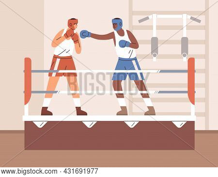 Men Boxers Fighting On Boxing Ring In Gym. Sparring Of Box Opponents In Helmets And Gloves. Fighter